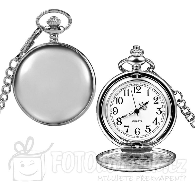 kapesní hodiny otvírací leštěné hladké gravírování rytí textů obrázků loga fotografie monogramu věnování vhodný dárek řetízek