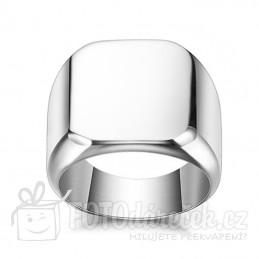 prsten pánský lesklý hladký ocelový s ploškou pro gravírování rytí vhodný dárek pro muže stříbrná barva elegantní rytina