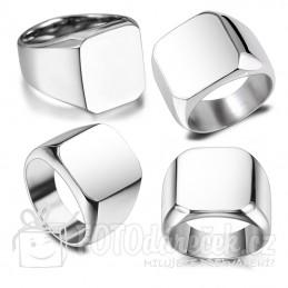 prsten pánský lesklý hladký ocelový s ploškou pro gravírování rytí vhodný dárek pro muže stříbrná barva elegantní rytina Brno